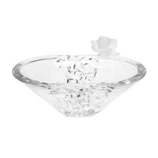Decorative Centerpiece Glass With Crystal Flower Clear