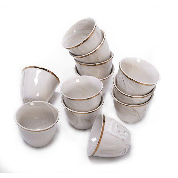 طقم فناجين قهوة عربية 12 قطعة رخام ذهبي من لاميسا  image number 2