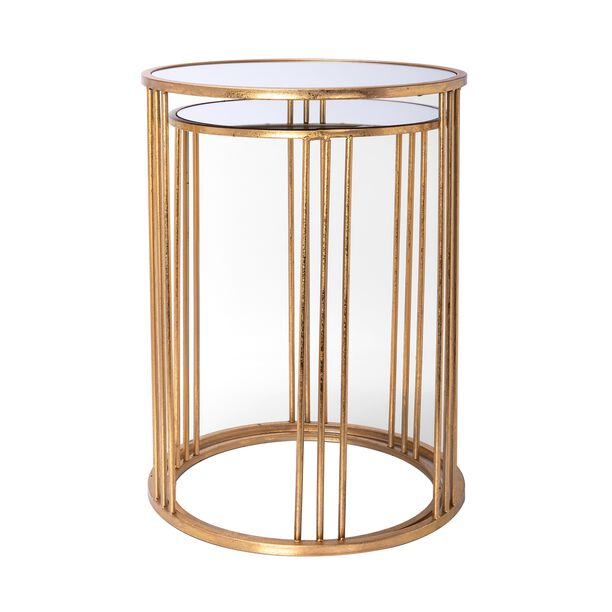 Side Table Set Of 2 Gold With Mirror Top Big image number 2