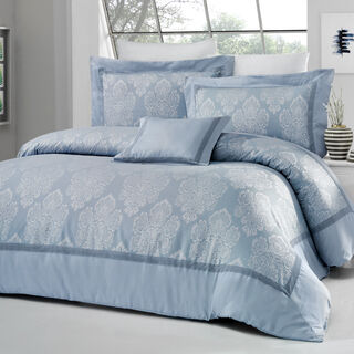 Boutique Balanch 4 Pieces Cotton Duvet Cover 210 Tc Damask Blue 260X240 Cm King
