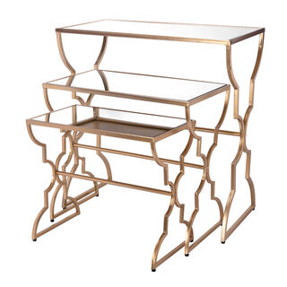 Side Table Set Of 3 Metal Gold