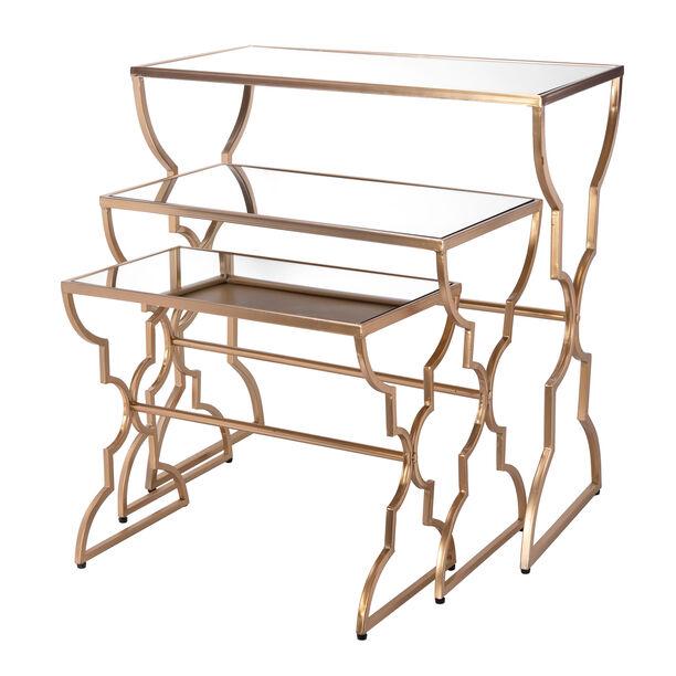 Side Table Set Of 3 Metal Gold image number 0