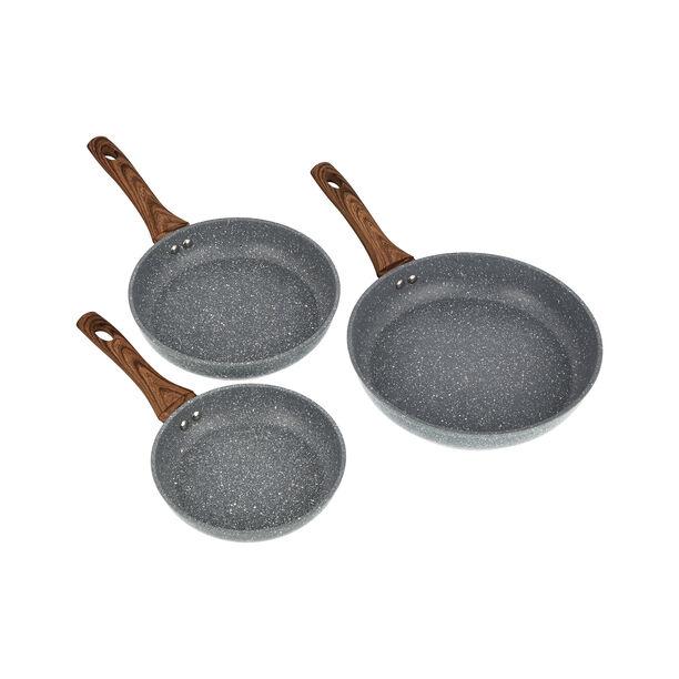 3 Pcs Aluminum Frypan Set Forged image number 1