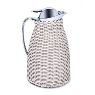 Dallaty Stainless Steel Vacuum Flask Rattan With Design Of Bamboo Grey 1L
