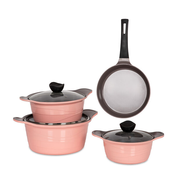 7Pcs Cast Aluminum Cookware Set with Glass Lid New Model image number 1