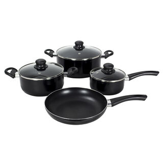 Cookware Non Stick Set 7 Pieces With Glass Lid Black