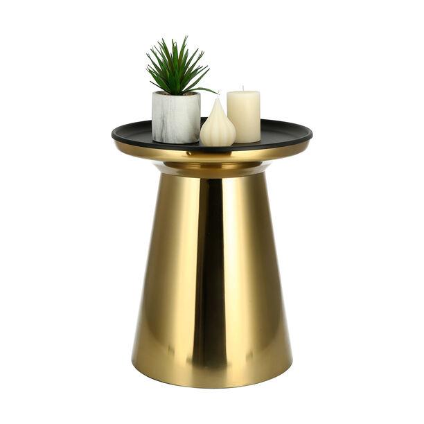 طاولة جانبية من المعدن الذهبي بسطح أسود  image number 1