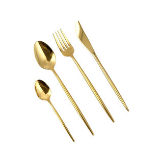 16 Pcs Cutlery Set Modern Gold