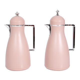 Dallaty 2 Pieces Plastic Vacuum Flask Koufaa Pink and Silver 1L