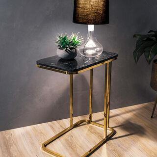 Side Table Silver Leg Black Top