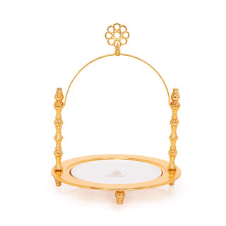 Porcelain Round Serving Dish With Handle And Base Gold Color