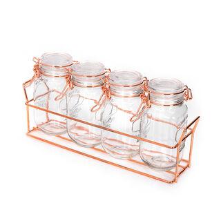 طقم برطمانات زجاج 4 قطع بغطاء وحامل معدني من البرتو