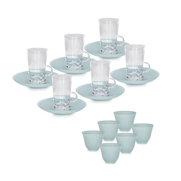 18Pc Arabic Tea And Coffee Set Glass Colorback Blue image number 1