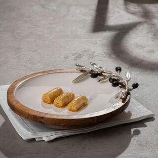 Wooden Round Dish With Olive Decoration Small ( Single Decoraction ) 16Cm