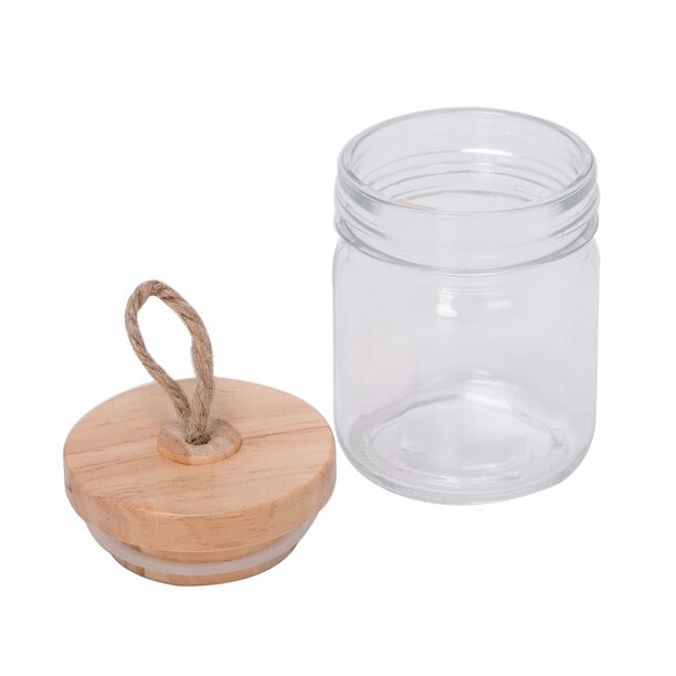 Alberto Mini Glass Jar With Wooden Lid And Hemp Rope image number 1