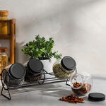 Alberto 4 Pieces Glass Spice Jars With Clip Lid And Metal Rack image number 0