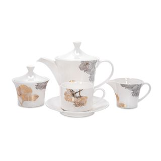 La Mesa Porcelain Tea Set 17 Pieces Golden Garden