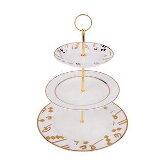 طبق تقديم حلويات 3 طبقات لون ذهبي من لاميسا