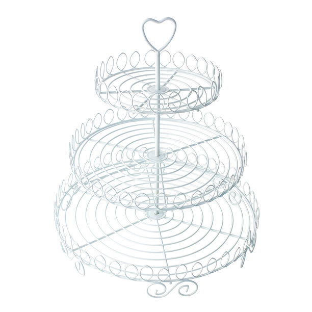 3 Layers Cup Cake Stand With Heart Handle  image number 0
