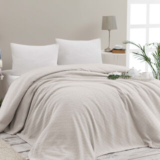 Cottage Cotton Blanket King 240X220 Cm Daily Off White