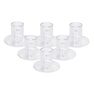 Double Wall Tea Glass Cup Set 12 Pieces Silver Line