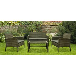 4 Pieces Set Natural Rattan Grey