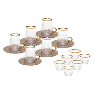 18 Pieces Tea Metalic Plate And Arabic Glass Kawa Set With Golden Glass Handle