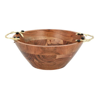 Wooden Round Bowl With Olive Handle Large 30Cm