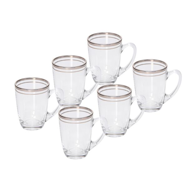Tea Glass Set 6 Pieces Double Line Silver image number 0