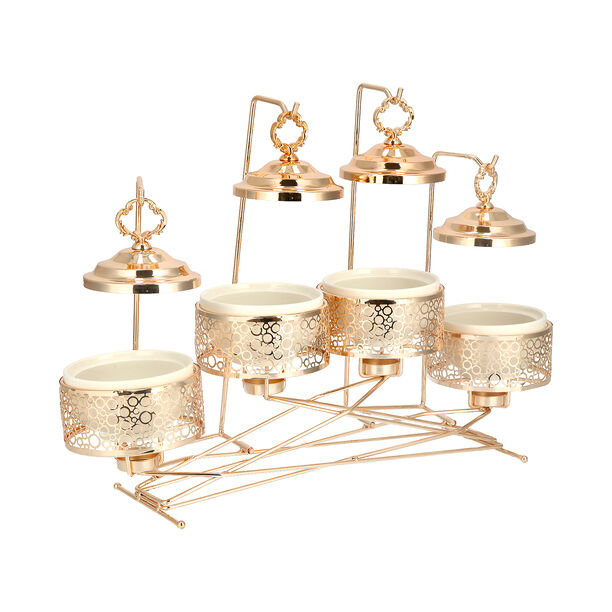 """4 pieces Round Food Warmer Set With Candle Stand Gold 5"""" image number 2"""