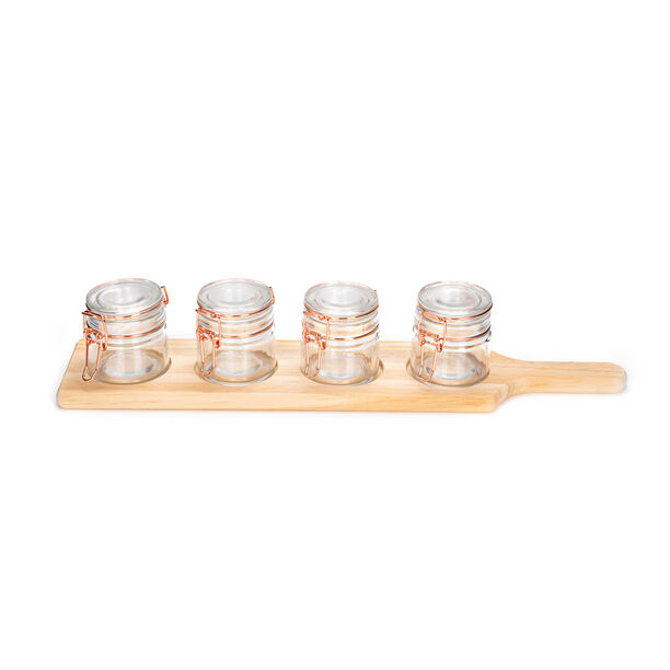 Alberto 4 Pieces Glass Mini Spice Jars With Copper Clip Lid And Wooden Rack image number 1
