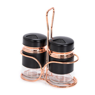 Alberto 2 Glass Spice Jars With Stand Black & Rose Gold