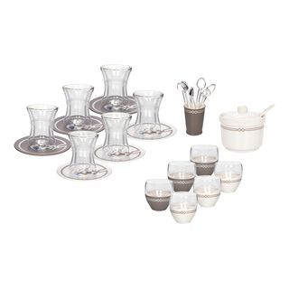 La Mesa 28 Pieces Porcelain Tea And Coffee Set Koufa White & Gray Serve 6