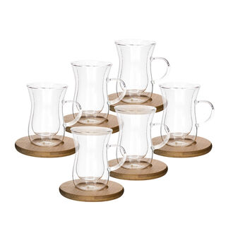 Glass Double Wall Coffee Cup Set 6 Cup + 6 Bamboo Dish