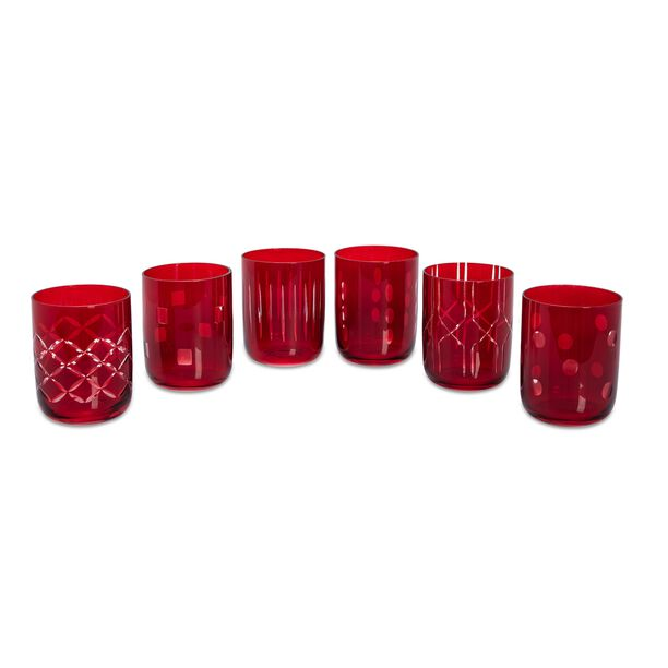 La Mesa 6 Pieces Glass Tumblers Assorted Red image number 0