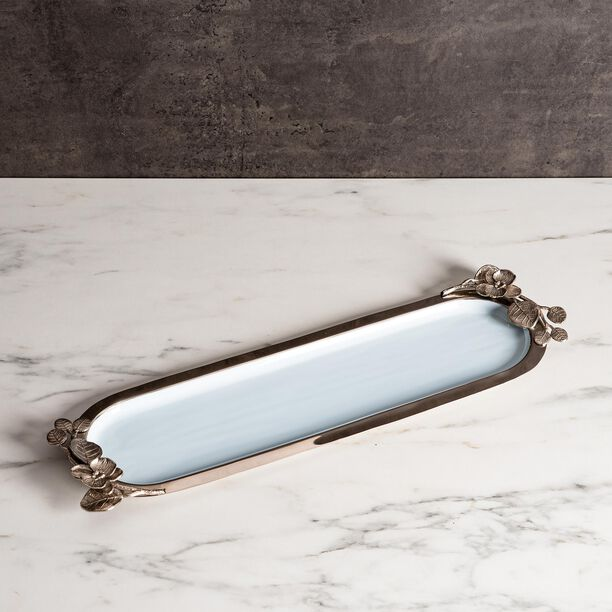 La Mesa Oval Serving Tray Blue And Silver Design image number 3