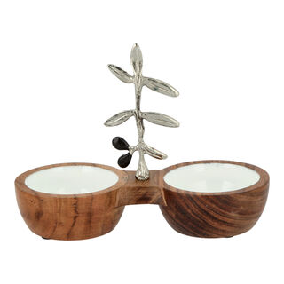 Wooden Twin Bowl With Olive Decoration
