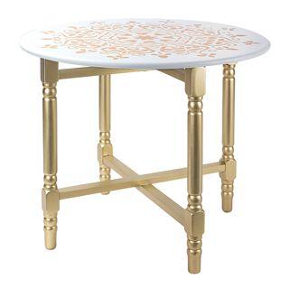 طاولة جانبية معدني ذهبي و أبيض طول:60*عرض:60*ارتفاع:54CM