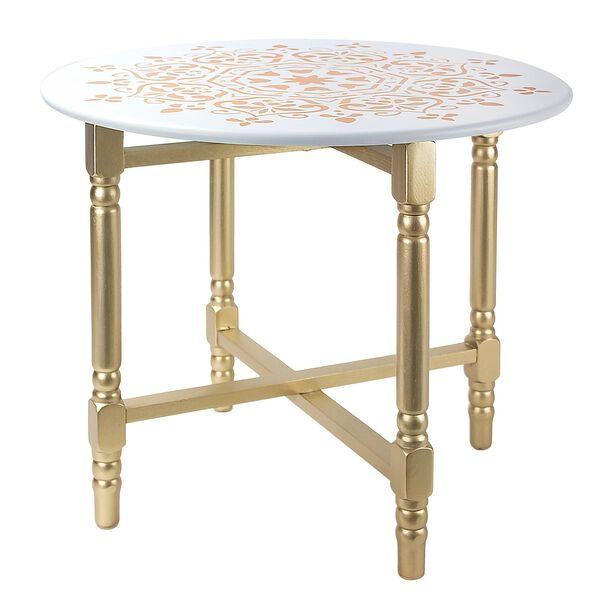 Side Table Metal White/Gold L:60Xw:60Xh:54Cm image number 0