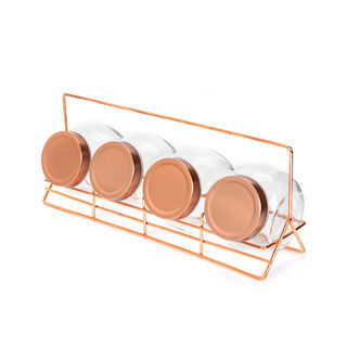 Alberto 4 Pieces Glass Spice Jars With Copper Clip Lid And Metal Stand