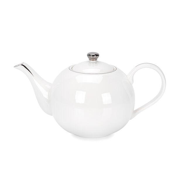 English Tea Pot White Silver Rim image number 0