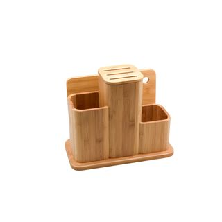 Alberto Bamboo Utensils And Knife Block Holder With Cutting Board