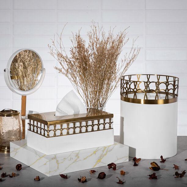 Metal & Wood Tissue Box Qamaryat image number 0