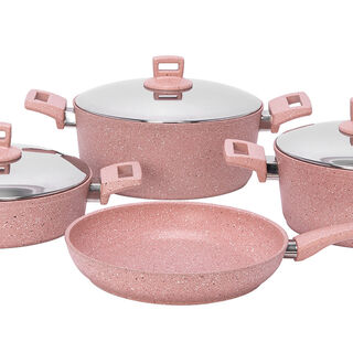 7Pcs Granite Cookware With Stainless Steel Lid And Soft Handles Pinkstone