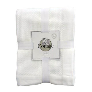Cottage Cotton Blanket King 240X220 Cm Daily White