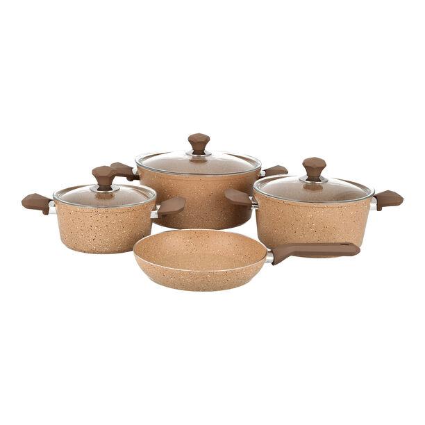 7 Pcs Granite Cookware Set Brown image number 1