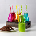 6Pcs Glass Milk Bottles With Metal Lid And Plastic Straw Assorted Colors image number 0