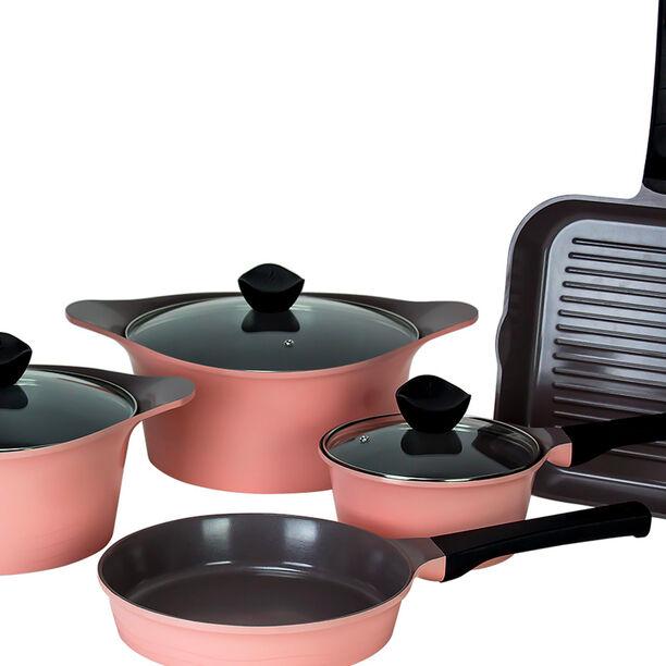 Alberto Tulip Aluminium Cookware Set 8Pcs With Glass Lids Pink Color image number 2