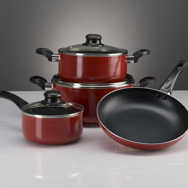 Cookware Non Stick Set 7 Pieces With Glass Lid Red image number 1