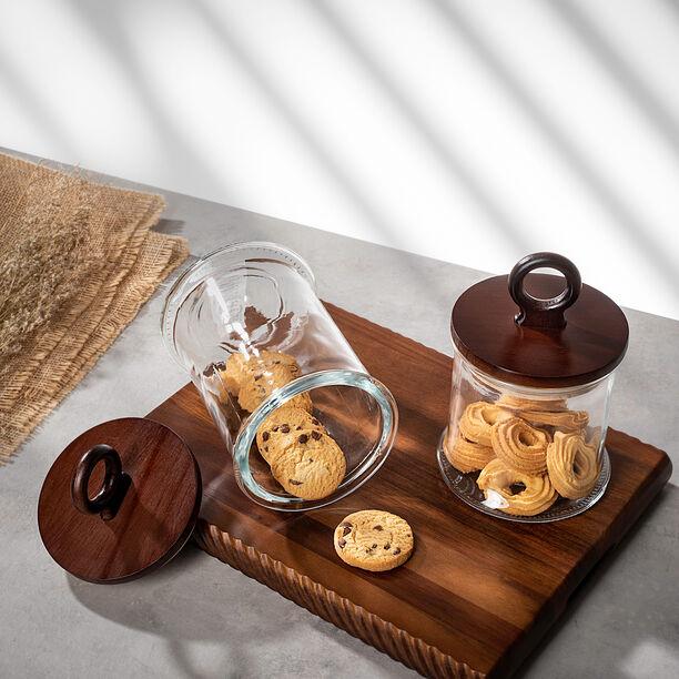 برطمان تخزين زجاجي بغطاء خشبي سعة 1900مل من البرتو  image number 1